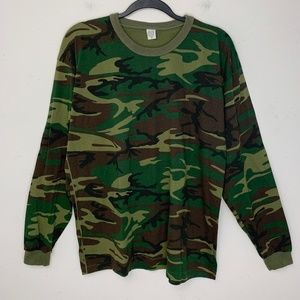 Vintage Army Camo Print Long Sleeve Ringer T Shirt